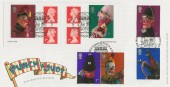 2001 Punch & Judy, Royal Mail FDC, doubled with 6 x 1st Class Self Adhesive Stamp Booklet issued on the same date. The World Famous Punch & Judy Inn Covent Garden London WC H/S.
