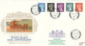 1990 Penny Black Anniversary. Presentation Silk Cigarette Card Series FDC, Arbroath Angus cds + Cachet.