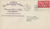 1953 Coronation of Queen Elizabeth II, Overseas Associates Inc. FDC, 2½d Stamp Only, Long Live the Queen Slogan London W1.