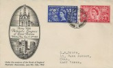 1953 Coronation of Queen Elizabeth II, 39th Philatelic Congress of Great Britain Whitley Bay FDC, 2½d & 4d Stamps, Hull Yorkshire cds.