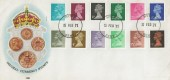 1971, ½p to 9p Decimal Low Value Machins, Philart FDC, Hythe Kent cds, No Strike Cachet.