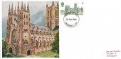 1969 British Cathedrals, Cameo Maxicard, 5d stamp Canterbury Cathedral, Canterbury Kent FDI.