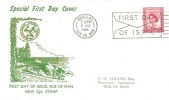1964, 2½d Isle of Man Regional, Illustrated FDC, First Day of Issue Douglas Isle of Man Slogan.