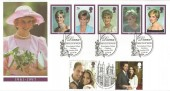 1998 Diana Princess of Wales, Royal Mail FDC, Kensington Palace Gardens London W8 H/S, Doubled with 2011 William & Kate's Wedding, First Day of Issue Westminster Abbey H/S.