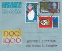 1966 Christmas, Noel 1966 Christmas Air Letter, with 1966 Christmas stamps, Leicester FDI.