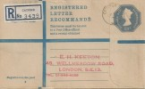 1971, 23p Embossed Postal Stationery Registered G Size Envelope FDC, Catford BO SE5 cds.