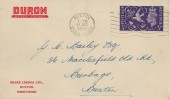 1946 Victory, Duron Brake Linings Ltd FDC, 3d Only, Buxton Derbyshire Cancel.