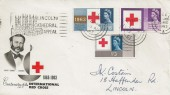 1963 Red Cross, BPA & PTS Illustrated FDC, Lincoln Cathedral Appeal Slogan + Lincoln cds.