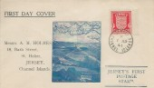 1941, Jersey Arms 1d Red,  Illustrated FDC, Jersey Channel Islands cds