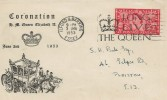 1953 Coronation, Illustrated FDC, Long Live the Queen Ilford & Barking Essex Slogan.
