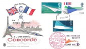 1969 Concorde, Stuart FDC, Filton Bristol FDI + 8p Leicester Space Rocket Mail Society Stamp.
