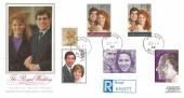 1986 Royal Wedding, Prince Andrew & Sarah Ferguson, Registered Presentation Philatelic Services, PPS Silk FDC, Windsor Berks cds.