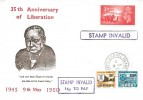 1980, 35th Anniversary of Channel Islands' Liberation Commemorative Cover, Stamp Invalid Cachets & 14p To Pay labels affixed.