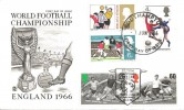 1966 World Cup Football, Double Dated with 1996 Football Legends 25p Bobby Moore & 60p Danny Blanchflower stamps, Stuart FDC, Southampton FDI.