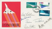 1969 Concorde, Post Office FDC, Filton Bristol FDI, Signed by Pilot and Crew of  Concorde 002 First Test Flight 9th April 1969.