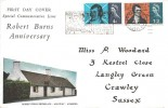 1966 Robert Burns, Illustrated FDC, Visit Crawley Best of the New Towns Slogan Crawley Sussex.