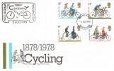 1978, Cycling Centenary, Post Office FDC, Warrington FDI, Nottingham - Warrington Cycling Centenary Cachet.