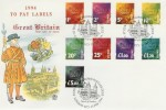 1994 To Pay Labels 1p to £5 St.Edward Crown London EC3 H/S FDC
