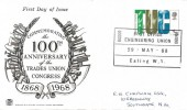 1968 British Anniversaries, Stuart Monochrome FDC, 4d TUC Stamp only, Post Office Engineering Union 100000 Ealing W5 H/S