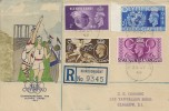 1948, KGVI Olympic Games Wembley, Registered XIV Olympiad Illustrated Colour FDC, Kirkcudbright cds