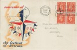 1951, Festival of Britain, Low Value Definitives ½d, 1d, 1½d, 2d, 2½d in Blocks of 4, Set of 5 Festival of Britain Illustrated FDC's, Festival of Britain May 3 - Sept 30 Cardiff Slogan