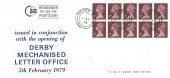 1979, 70p Kedleston Hall & 90p Tramway Museum Crich Booklets, Pair of Derby Mechanized Letter Office FDC's, Derby cds's