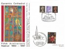 1967, 4d, 1/-, 1/9d, QEII Definitives, Larger version of the Coventry Cathedral Official FDC, Commemorating The 5th Anniversary Festival Coventry Cathedral H/S + Holy Trinity Church Shakespeare's Burial Place Overprint.