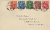 1951, Festival of Britain, Low Value Definitives ½d, 1d, 1½d, 2d, 2½d, Westminster Bank Ltd FDC, Walton-on-the-Naze Essex cds