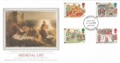 1986 Medieval Life, Presentation Philatelic Services Sotheby's Collection Silk FDC, Doncaster (Donecastre) FDI
