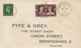 1937 King George VI Coronation, Fyfe & Grey Printed Envelope FDC, Ayr - Carlisle RSC cds