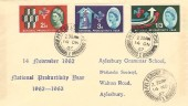1962, National Productivity Year, Aylesbury Grammer School Philatelic Society FDC, Aylesbury Bucks. cds.