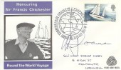 1967, Sir Francis Chichester, Pure New Wool FDC, Sir Francis Chichester Greenwich London SE10 H/S, signed by Michael Goaman Stamp Designer.