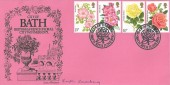 1976 Roses, City of Bath Official FDC, Year of the Rose Bath H/S, Signed by the Stamp Designer Kristin Rosenberg.