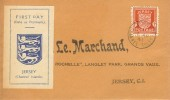 1941 1d Jersey Arms Definitive, Local Produced Illustrated FDC, Jersey Channel Islands cds