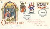 1968 Christmas, Stuart Colour FDC, Bethlehem Llandeilo Carms. FDI