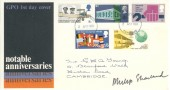 1969 Notable Anniversaries, GPO FDC, Cambridge FDI, Signed by Stamp Designer Philip Sharland