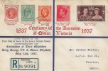 1937 Coronation, Arthur Winter Registered Display FDC, Stamps from 5 Reigns, Fishergate Preston Lancs. cds