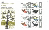 1966 British Birds, GPO FDC, Phosphor Set + Ordinary Set on the Same Cover, London EC FDI