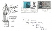 1965 Joseph Lister, Illustrated FDC, Mansfield the Centre for Sherwood Forest Slogan
