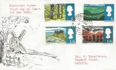 1966 British Landscapes, Hand Illustrated FDC, Warwick & Leamington Spa cds