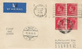 1936, King Edward VIII 1d Red, Block of 4, Airmail Cover to Vienna Austria, Newport Mon Cancel & cds