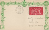 1957, Scout Jubilee Jamboree, Boy Scouts Postcard, 2½d Stamp only, World Scout Jubilee Jamboree Sutton Coldfield Slogan