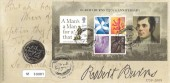 2009, Robert Burns Miniature Sheet, Royal Mint Official £2 Coin FDC, Robert Burns 250th Anniversary For Auld Lang Syne Alloway Ayr H/S