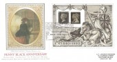1990 Penny Black Anniversary Miniature Sheet, PPS Sotherby's Silk FDC, National Postal Museum  SWL90 London EC H/S