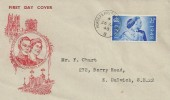 1948 Silver Wedding, Illustrated FDC, 2½d stamp only, Horseferry Rd BO SW1 cds