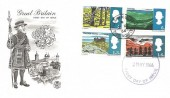 1966 Landscapes, Stuart Beefeater FDC, Pulham Market Diss Norfolk cds + Diss FDI Forged Cover