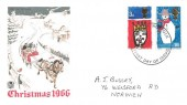 1966 Christmas, Stuart Coloured FDC, Norwich Norfolk FDI