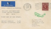 1934, King George V 1½d Photogravure, A Phillips Air Mail FDC, First Flight Cardiff - Liverpool, Cardiff Cancel