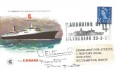 1967, Launching of the Q4 The new Cunarder Wessex Commemorative Cover, Signed by the Designate Master Captain Warwick, Launching of Q4 Clydebank H/S
