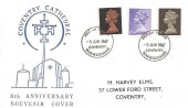 1967, QEII 4d, 1/-, 1/9d Definitive Issue, 5th Anniversary Coventry Cathedral Souvenir Cover, Coventry Warwickshire FDI